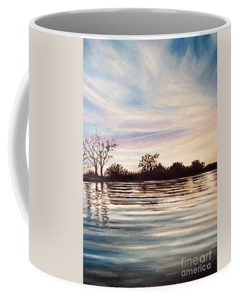 Oil Coffee Mug featuring the painting Rippled Glass by Elizabeth Robinette Tyndall