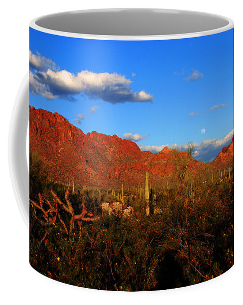 Rising Moon Coffee Mug featuring the photograph Rising Moon In Arizona by Susanne Van Hulst