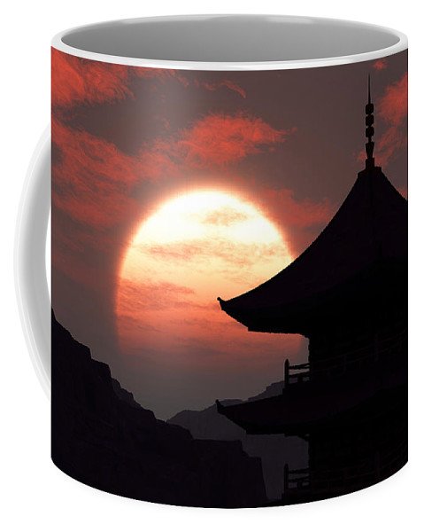 Oriental Coffee Mug featuring the digital art Rising Sun by Richard Rizzo