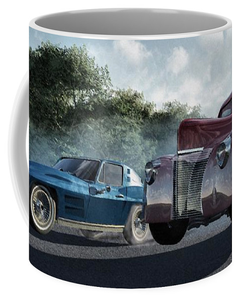Racing Coffee Mug featuring the digital art Rivals by Richard Rizzo