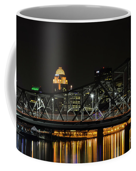 Louisville Coffee Mug featuring the photograph Ohio River Bridges And Louisville Skyline by Bob Phillips
