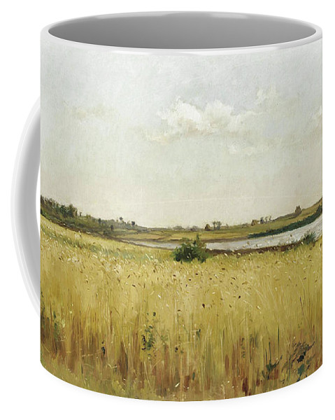 Pierre Emmanuel Eugene Damoye Coffee Mug featuring the painting River Landscape With Cornfield by Pierre Emmanuel Eugene Damoye