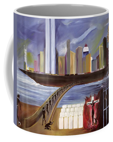 Crossing Coffee Mug featuring the painting River Of Babylon by Ikahl Beckford