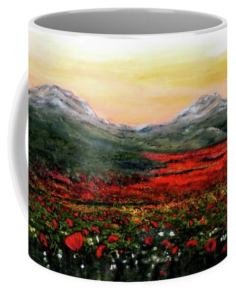 Poppies Coffee Mug featuring the painting River Of Poppies by Judy Kirouac