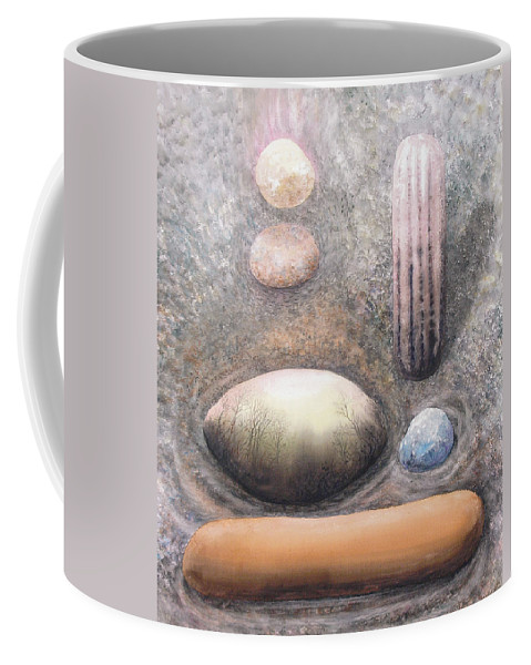 Abstract Coffee Mug featuring the painting River Rock 1 by Valerie Meotti