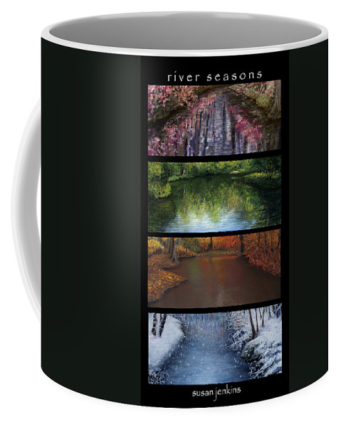 Landscape Coffee Mug featuring the pastel River Seasons by Susan Jenkins