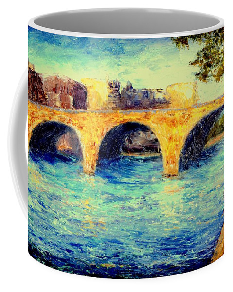 Impressionism Coffee Mug featuring the painting River Seine Bridge by Gail Kirtz
