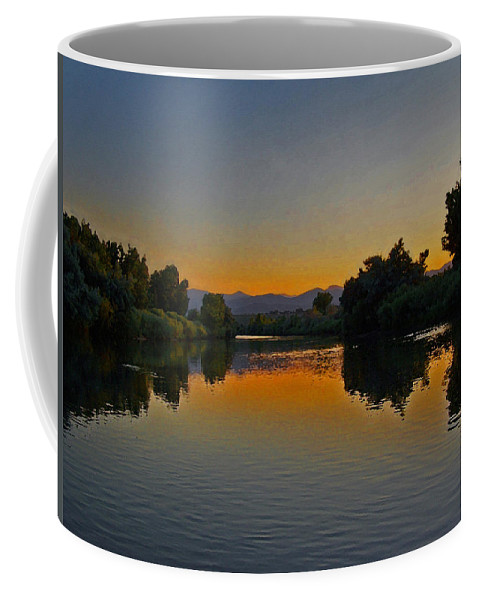 Rivers Coffee Mug featuring the photograph River Sunset by Ernie Echols