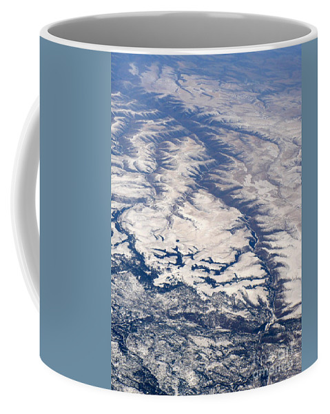 Aerial Coffee Mug featuring the photograph River Valley Aerial by Carol Groenen