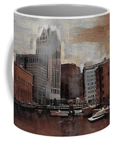 River Coffee Mug featuring the digital art River View Aged by Anita Burgermeister