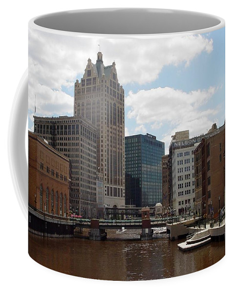 Milwaukee Coffee Mug featuring the photograph River View by Anita Burgermeister