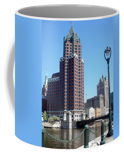 Milwaukee Coffee Mug featuring the photograph River Walk View Photo by Anita Burgermeister