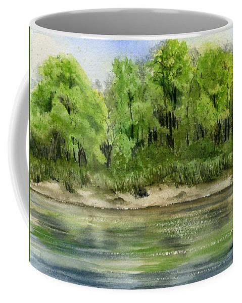 Water Coffee Mug featuring the painting Riverbank by Mary Tuomi