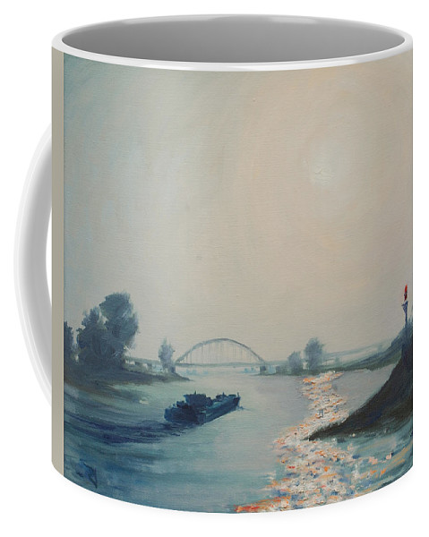 River Coffee Mug featuring the painting Riverbarge by Rick Nederlof