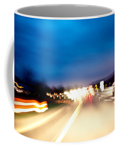 Freeway Coffee Mug featuring the photograph Road At Night 5 by Steven Dunn