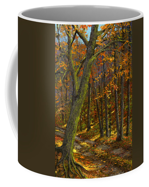Landscape Coffee Mug featuring the painting Road In The Woods by Frank Wilson