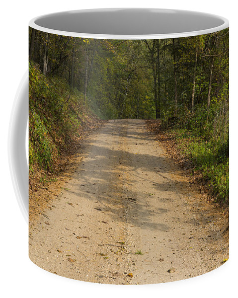 Road Coffee Mug featuring the photograph Road In Woods Autumn 2 A by John Brueske