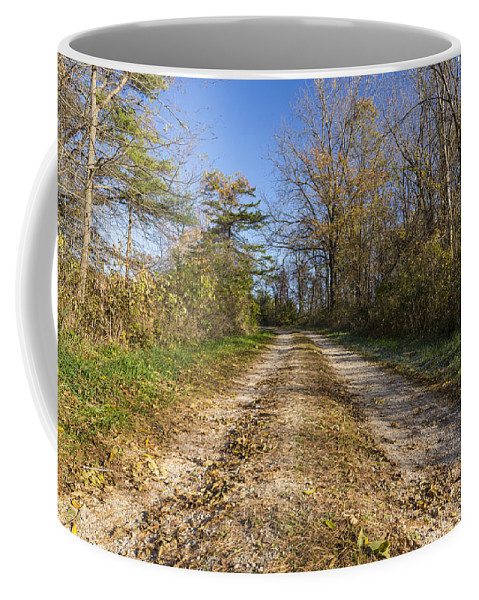 Road Coffee Mug featuring the photograph Road In Woods Autumn 4 A by John Brueske