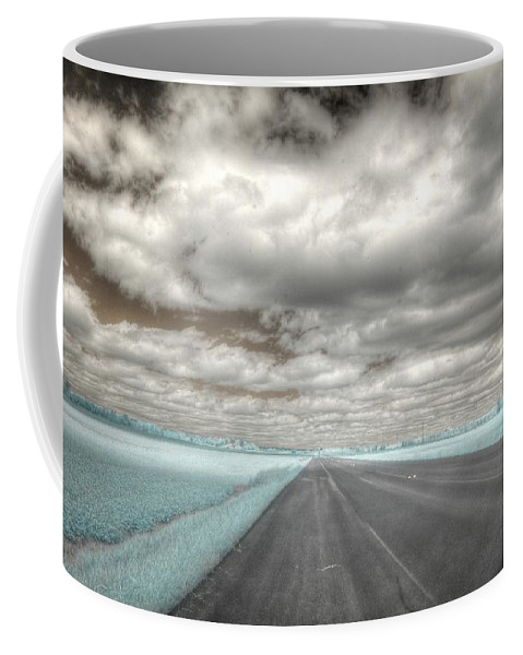 Infrared Coffee Mug featuring the photograph Road Sky Infrared Clouds Landscape Open Road Travel Path Road Trip by Jane Linders