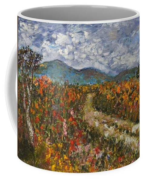 Impasto Coffee Mug featuring the painting Road Through Colored Meadows by Emily Michaud