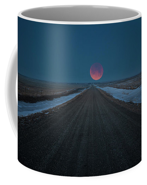 Blue Super Blood Moon Coffee Mug featuring the photograph Road To Nowhere - Blood Moon by Aaron J Groen