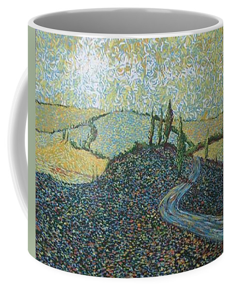 Landscape Coffee Mug featuring the painting Road To Tuscany by Stefan Duncan