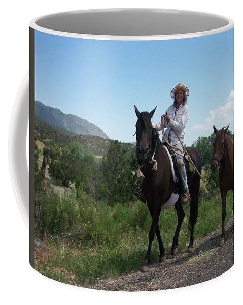 Horses Coffee Mug featuring the photograph Roadside Horses by Anita Burgermeister