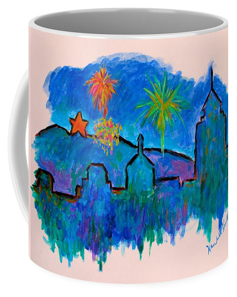 City Coffee Mug featuring the painting Roanoke In Blue by Kendall Kessler