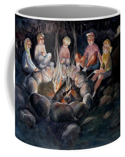 Family Coffee Mug featuring the painting Roasting Marshmallows by Marilyn Jacobson