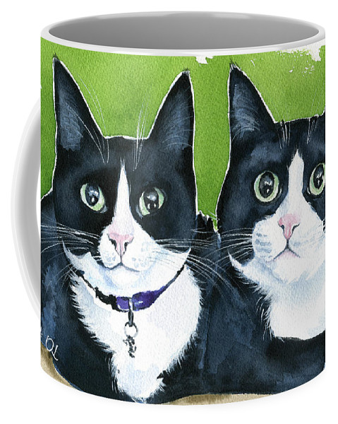 Cat Coffee Mug featuring the painting Robin And Batcat - Twin Tuxedo Cat Painting by Dora Hathazi Mendes