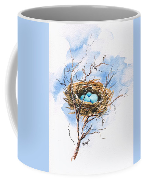 Nest Coffee Mug featuring the painting Robin's Nest by Sam Sidders