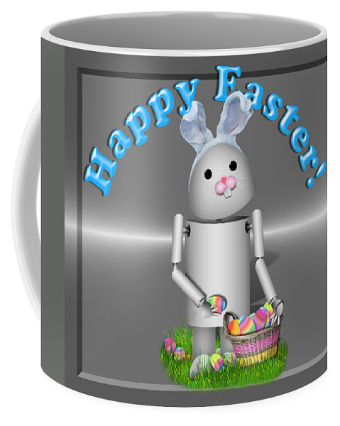 Gravityx9 Coffee Mug featuring the mixed media Robo-x9 The Easter Bunny by Gravityx9 Designs