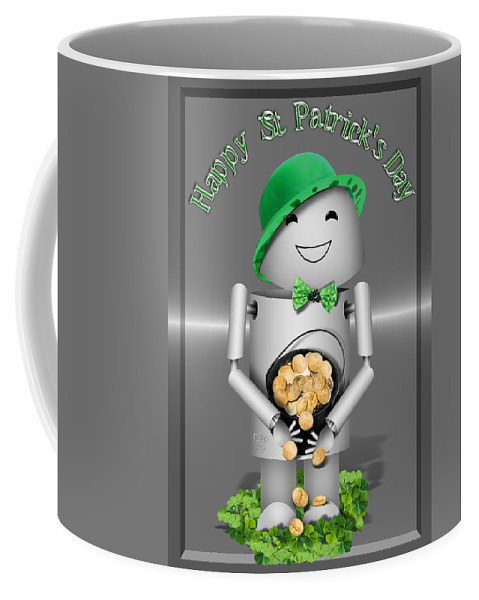Gravityx9 Coffee Mug featuring the mixed media Robo-x9 With A Pot Of Gold by Gravityx9  Designs
