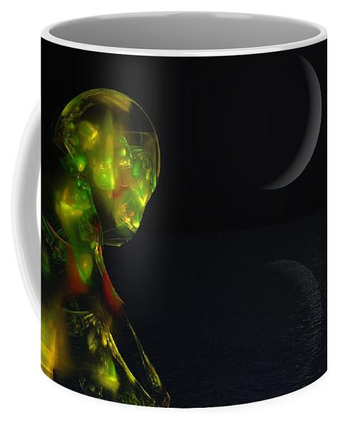 Abstract Digital Painting Coffee Mug featuring the digital art Robot Moonlight Serenade by David Lane