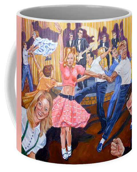 Buddy Holly Coffee Mug featuring the painting Rock Around With Ollie Vee by Bryan Bustard