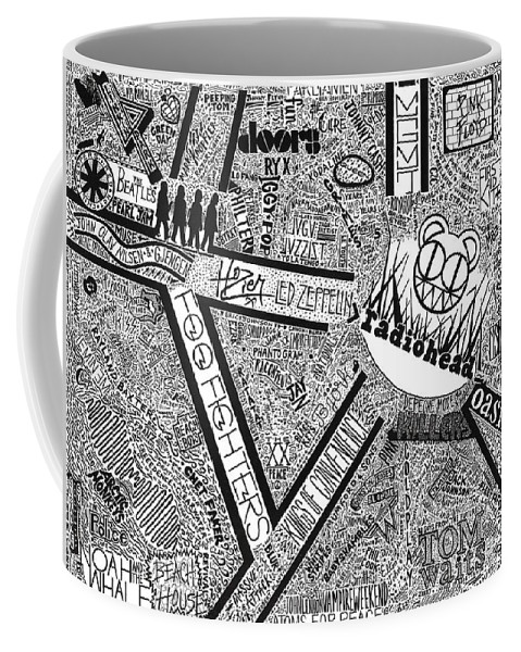 Radiohead Coffee Mug featuring the drawing Rock City by Mark Richardson