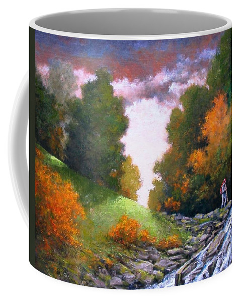 Artist Coffee Mug featuring the painting Rock Creek by Jim Gola