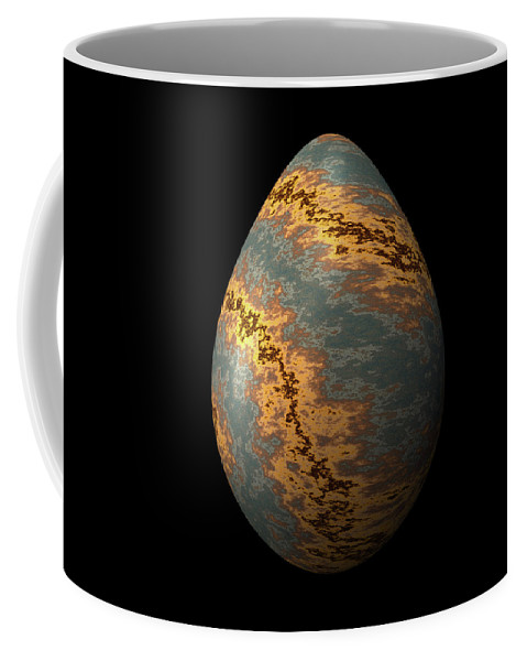 Series Coffee Mug featuring the digital art Rock Egg With Warm Yellow Lines by Hakon Soreide