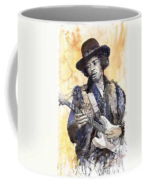 Watercolour Coffee Mug featuring the painting Rock Jimi Hendrix 02 by Yuriy Shevchuk