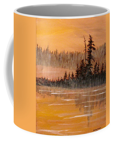 Northern Ontario Coffee Mug featuring the painting Rock Lake Morning 3 by Ian MacDonald