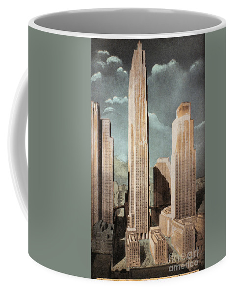 1930s Coffee Mug featuring the photograph Rockefeller Center by Granger