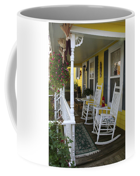 Rocking Chair Coffee Mug featuring the photograph Rockers On The Porch by Margie Wildblood