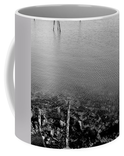 Black And White Coffee Mug featuring the photograph Rockport Shore by Timothy Bischoff