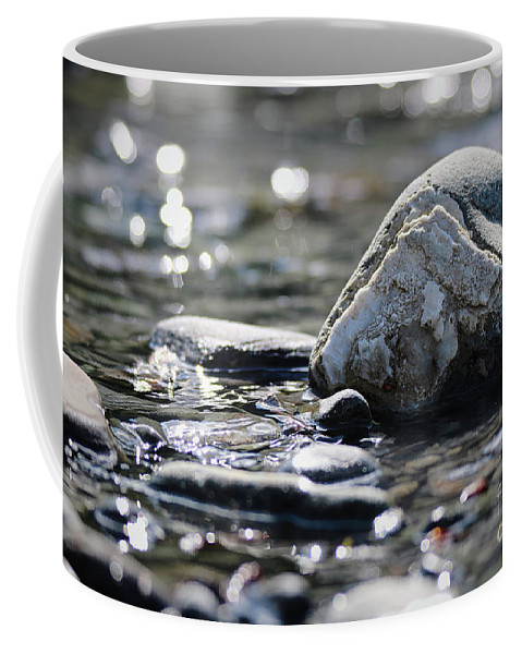 River Coffee Mug featuring the photograph Rocks Along A River by Amber D Meredith Photography