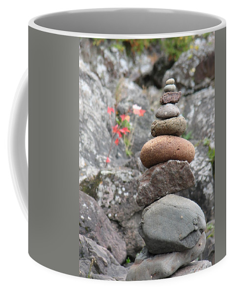 Rocks Coffee Mug featuring the photograph Rocks And Roses by Kelly Mezzapelle
