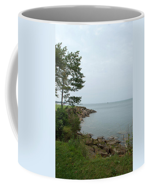 Shoreline Coffee Mug featuring the photograph Rocky Coast by Linda Kerkau