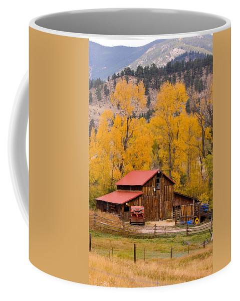Rustic Coffee Mug featuring the photograph Rocky Mountain Barn Autumn View by James BO Insogna