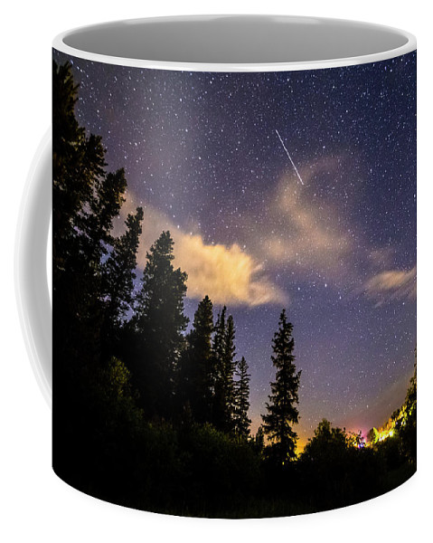Night Coffee Mug featuring the photograph Rocky Mountain Falling Star by James BO Insogna