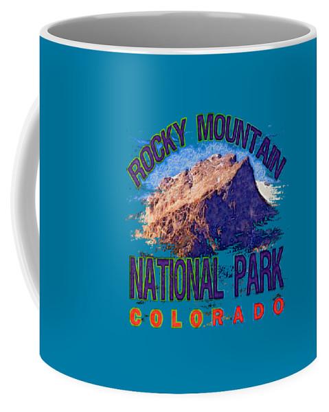 Rocky Mountain National Park Coffee Mug featuring the digital art Rocky Mountain National Park by David G Paul