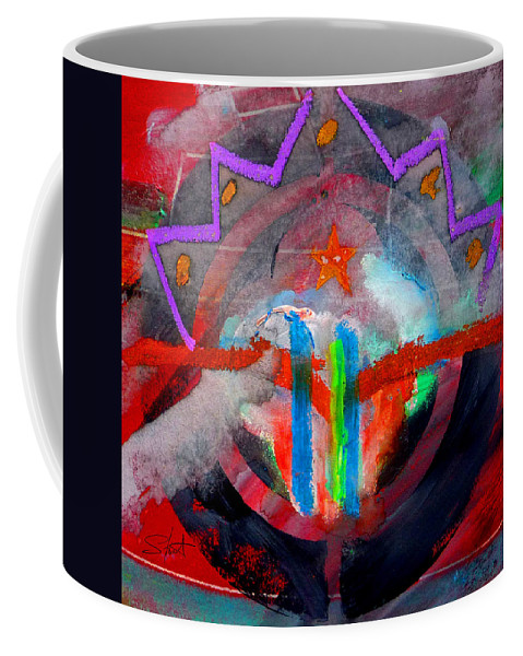 Button Coffee Mug featuring the painting Rocky Mountain Pass by Charles Stuart
